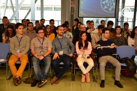 Rubén Martínez, en el centro de la primera fila, durante un congreso de IEEE organizado en la UPCT.