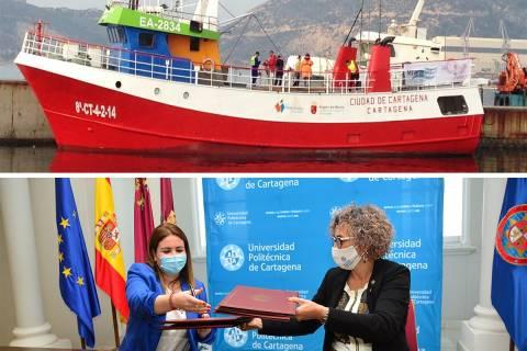 El barco Ciudad de Cartagena y la consejera y la rectora firmando el convenio.