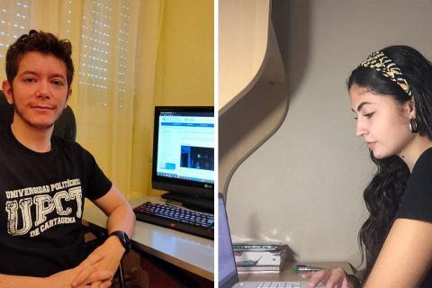 El alumno becado en el Servicio de Informática Sergio Carralero y la estudiante Ana Belén Padrós, becaria de Excelencia.