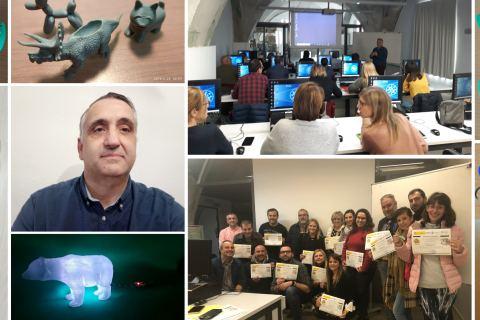 Pedro Díaz en un montaje con fotos de los seminarios y los dispositivos realizados para Astus.