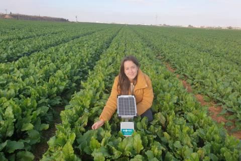 Sofía Leal en uno de los campos de cultivo que monitoriza con sensores como los que aprendió a a manejar durante las prácticas.