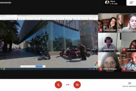 Captura de pantalla durante el tour virtual por Cartagena.
