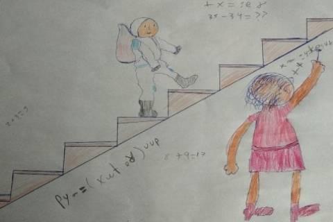 Dibujo del colegio Santa Joaquina de Vedruna de Cartagena para ilustrar el trabajo de Katherine Coleman.