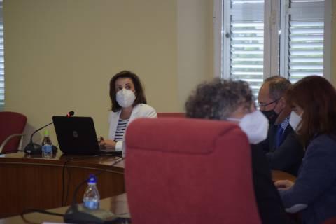 La vicerrectora de Investigación, Catalina Egea, explicando el Plan de apoyo a la I+D+i.