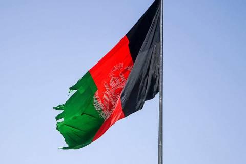 La anterior bandera de Afganistán, sustituida ahora por la talibán.