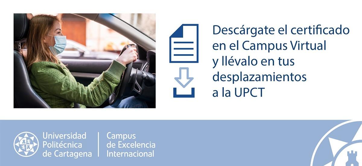 Descarga de certificados para realizar desplazamientos a la UPCT