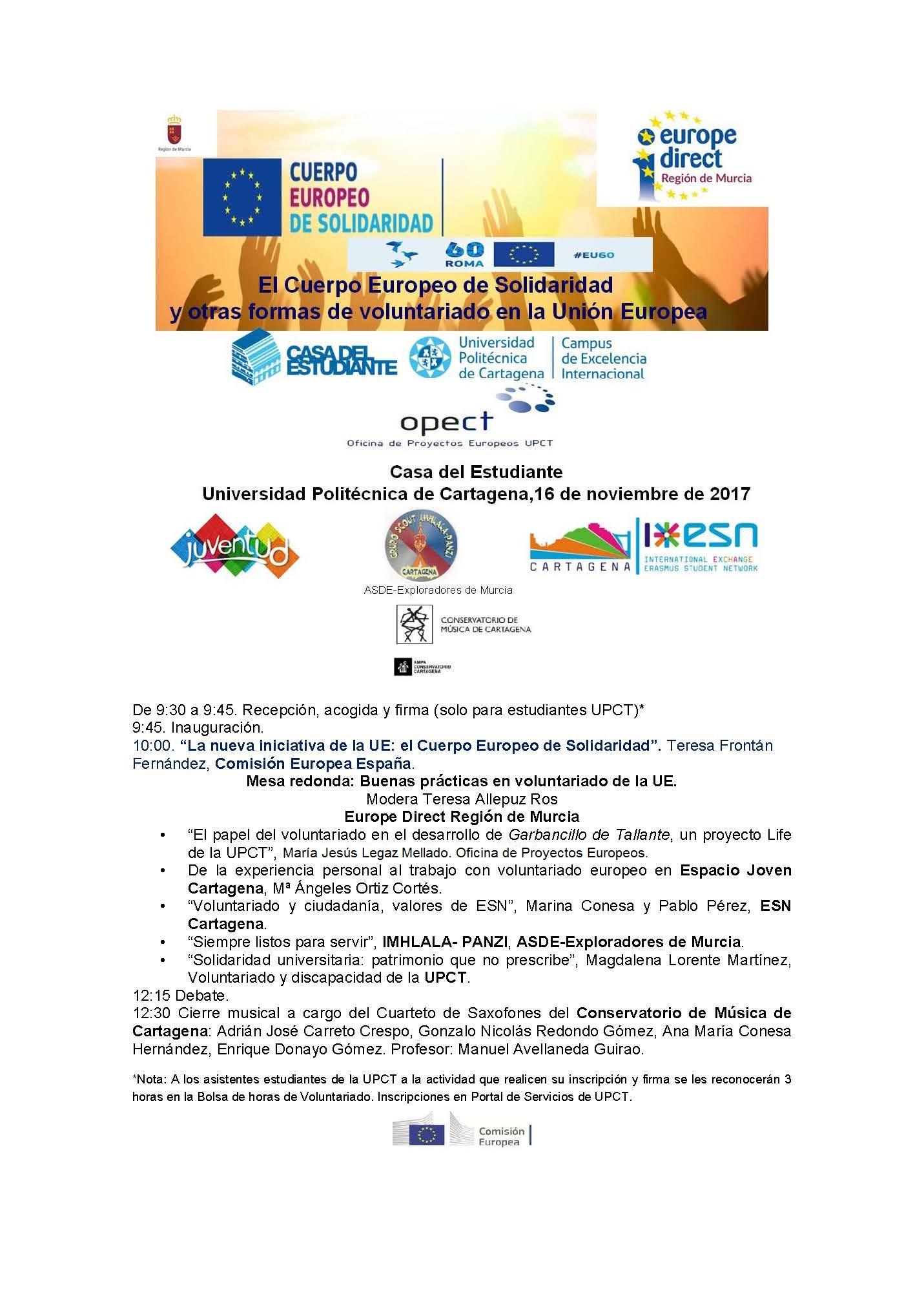 Jornadas El Cuerpo Europeo de solidaridad y otras formas de voluntariado en la UE